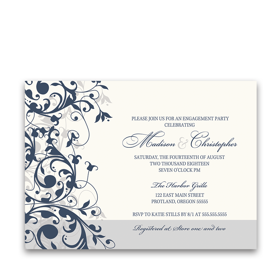 Taylor Suite Engagement Party Invite Navy Blue Floral Swirls