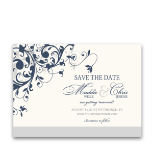 Taylor Suite Save the Date Card Navy Blue Floral