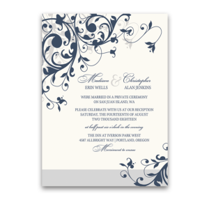 Wedding Reception Only Invitation Navy Blue Floral