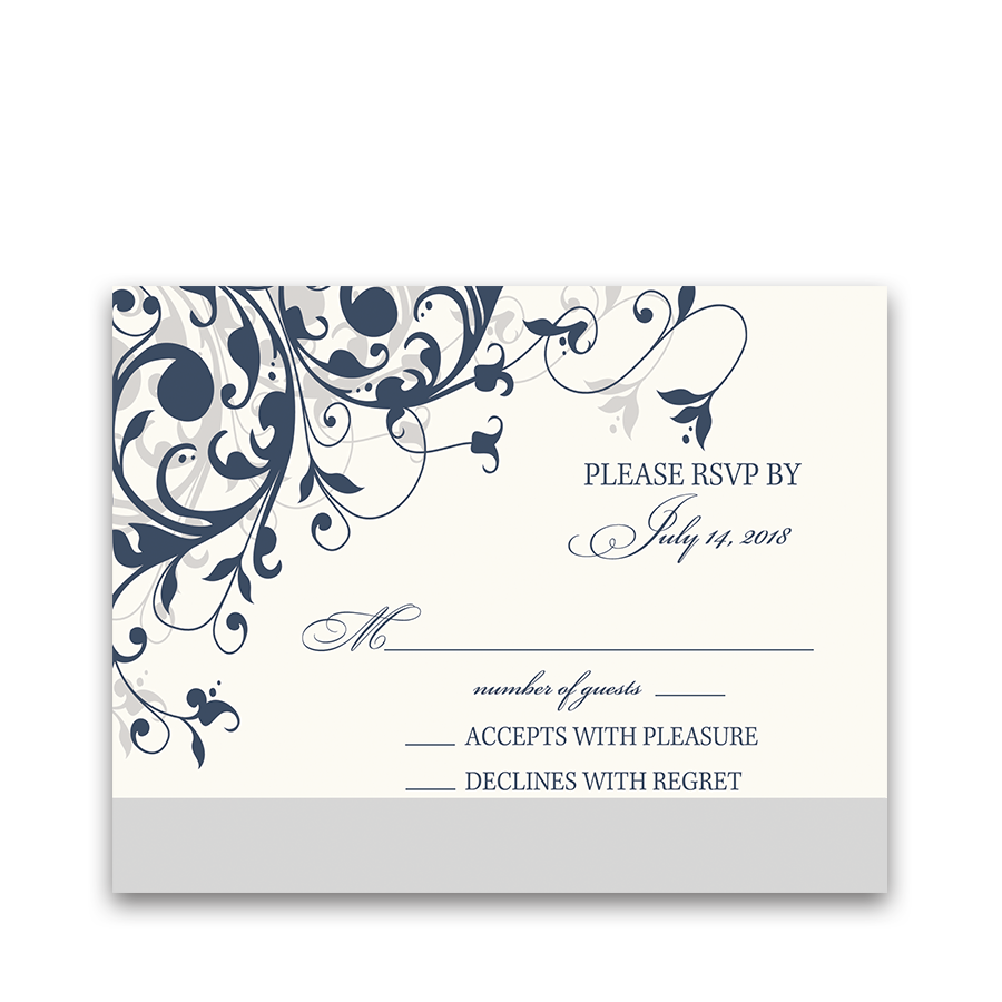Taylor Suite RSVP Cards Navy Blue Floral Swirls