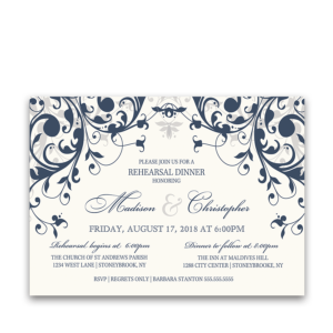 Taylor Suite Rehearsal Dinner Navy Blue Floral Swirls