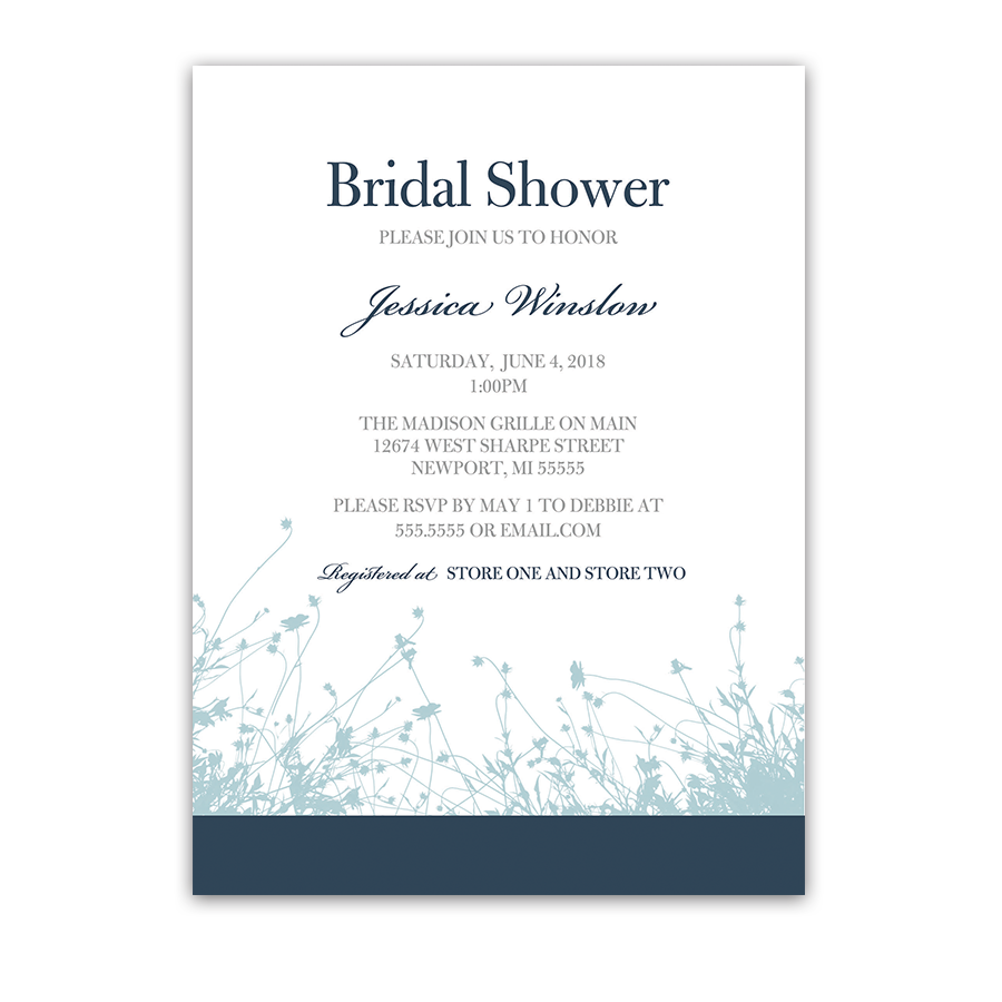 Navy and Pale Blue Floral Bridal Shower Invitations