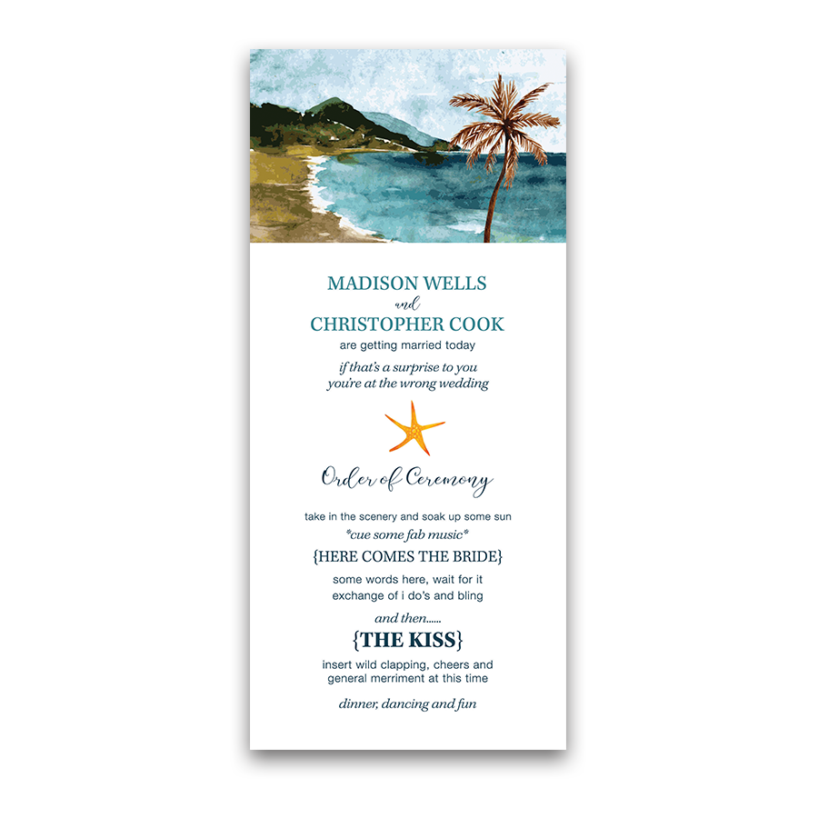 Beach Wedding Casual Watercolor Ceremony Program
