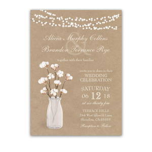 Rustic Kraft Paper Wedding Invitation Cotton Branches