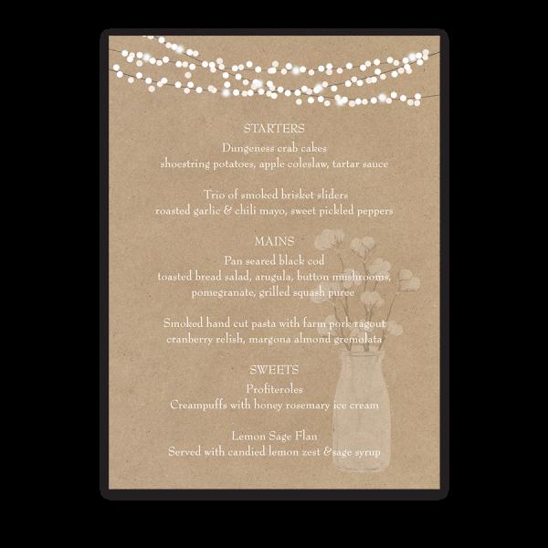 Rustic Kraft Paper Wedding Menu Cotton Theme