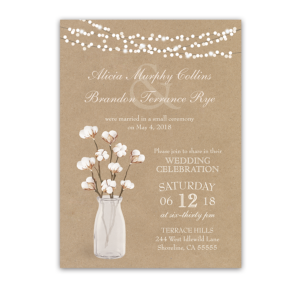Rustic Cotton Theme Wedding Reception Only Invitation