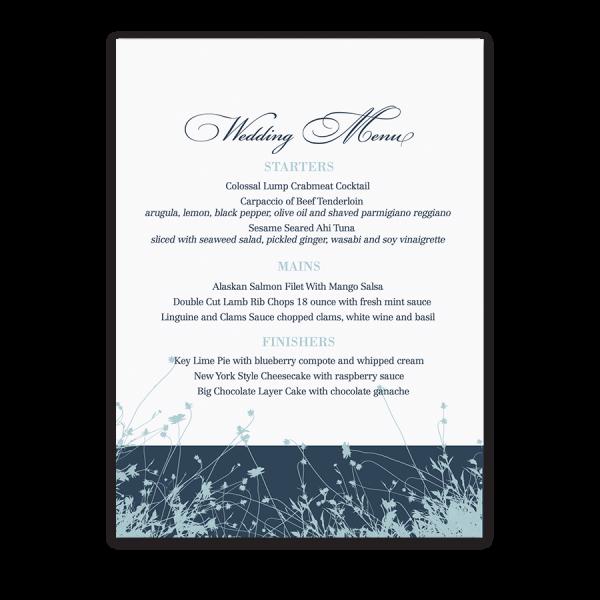 Navy Blue Wedding Menu Floral Wildflowers