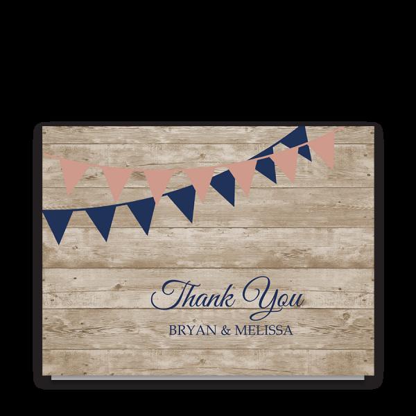 Rustic Wedding Thank You Cards Barn Wood Navy Blue