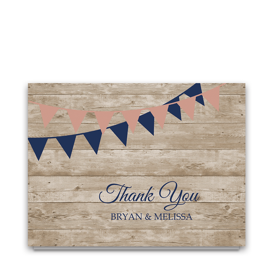 Rustic Wedding Thank You Cards Barn Wood Navy Blue