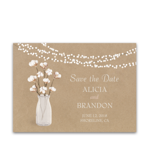 Rustic Kraft Wedding Save the Date Card Cotton