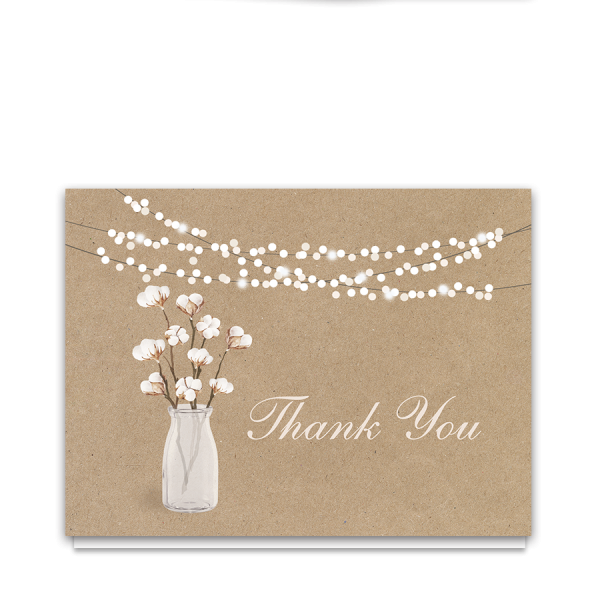 Rustic Cotton Theme Thank You Card | Kraft Paper