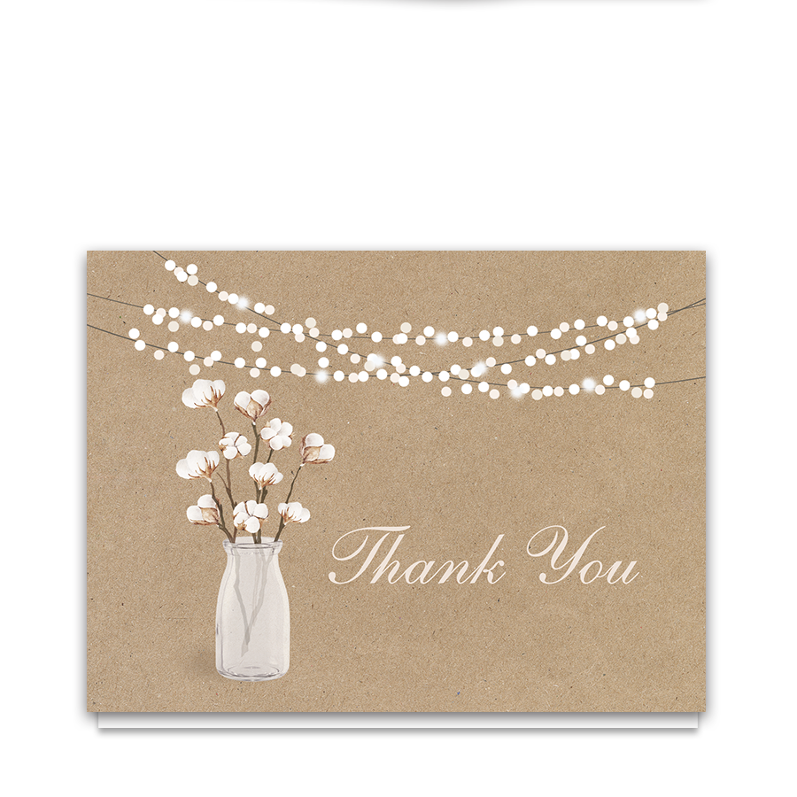 Rustic Cotton Theme Thank You Card | Kraft Paper