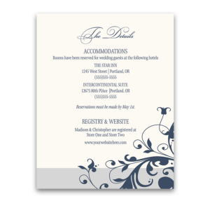 Navy Blue Floral Additional Guest Information Card