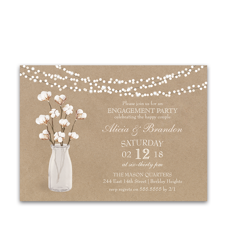 rustic kraft bridal shower invitation cotton theme