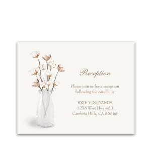 Rustic Cotton Theme Wedding Reception Insert Card