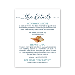 Beach Wedding Guest Additional Information Insert