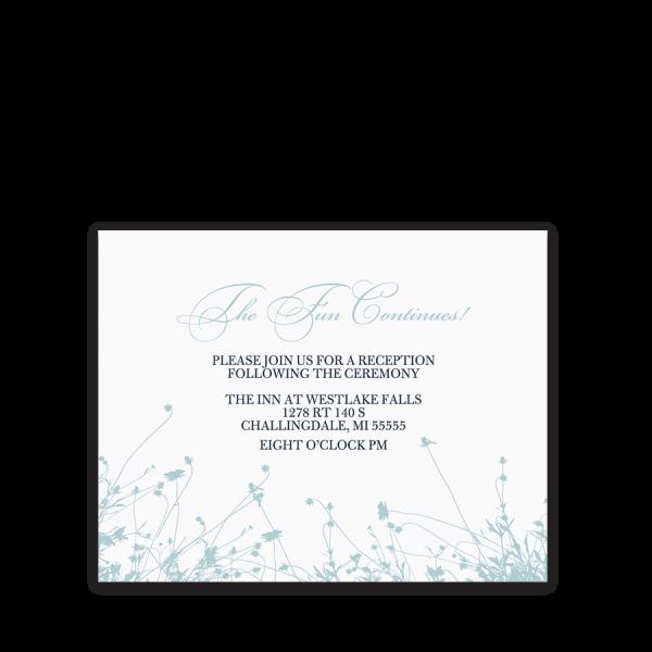 Navy Blue Floral Wedding Reception Information Card