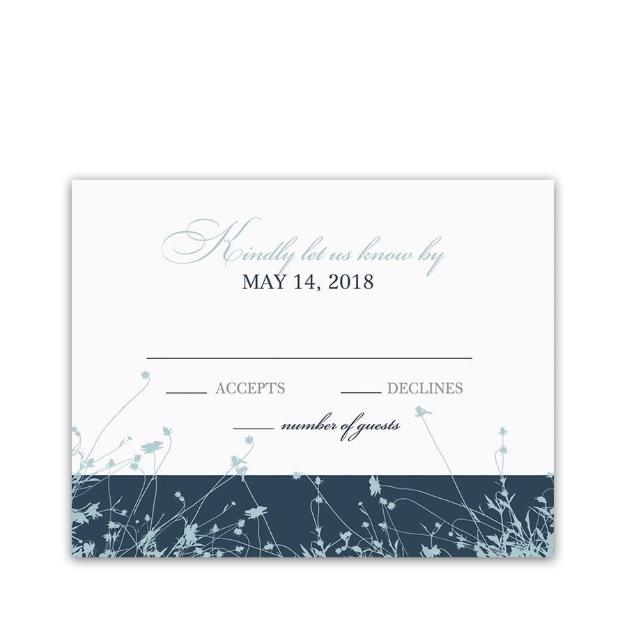 Navy Blue Wildflower Floral Wedding RSVP Card