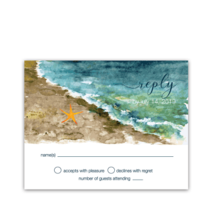 Beach Wedding RSVP Cards Ocean Theme Watercolors