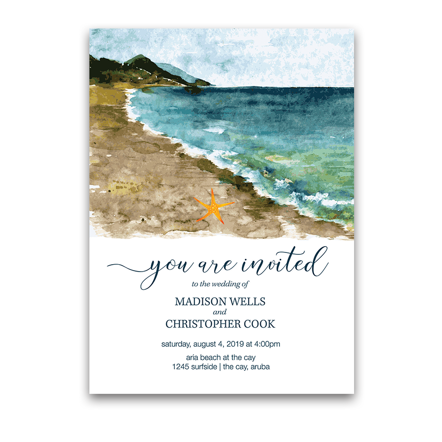 Beach Wedding Invitation Sea Inspired Watercolors