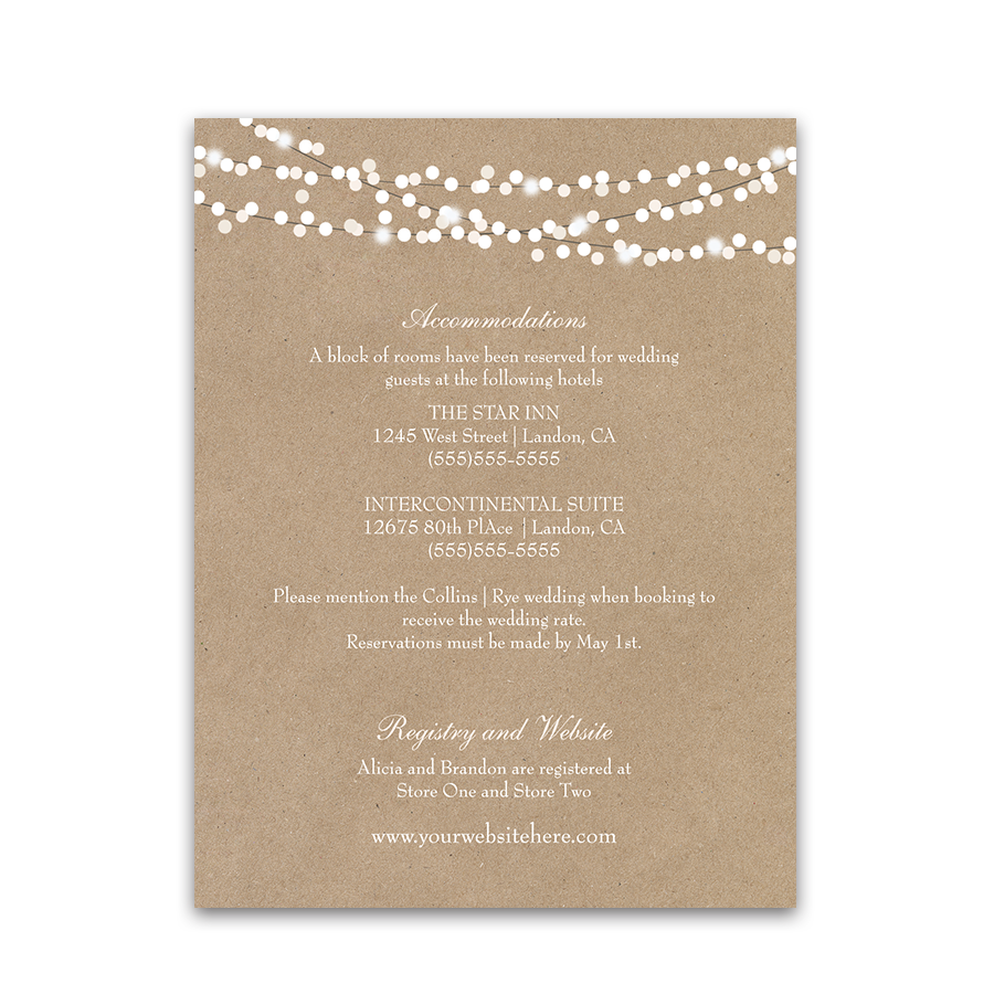 Guest Information Cards Rustic Cotton Wedding Insert