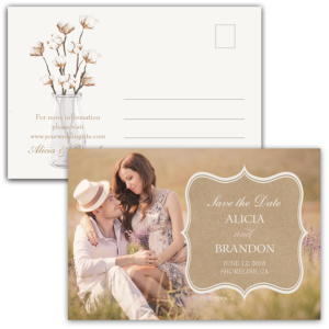 Rustic Cotton Kraft Wedding Save the Date Postcard