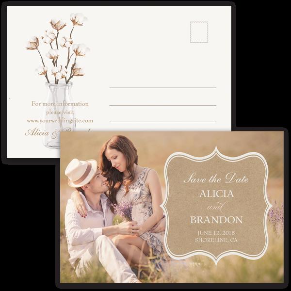 Rustic Cotton Kraft Wedding Save the Date Postcard