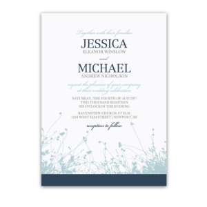 Floral Wedding Invitations Navy Pale Blue Wildflowers
