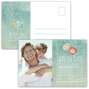 Beach Wedding Seashell Photo Save the Date Postcard