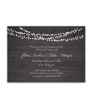 Rustic Wood String Lights Engagement Party Invite