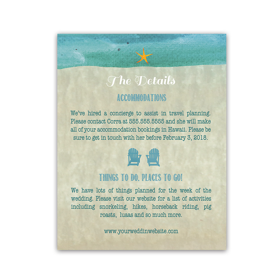 Beach Chair Wedding Additional Information Cards