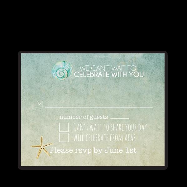 Beach Wedding RSVP Cards Watercolor Starfish Seashell