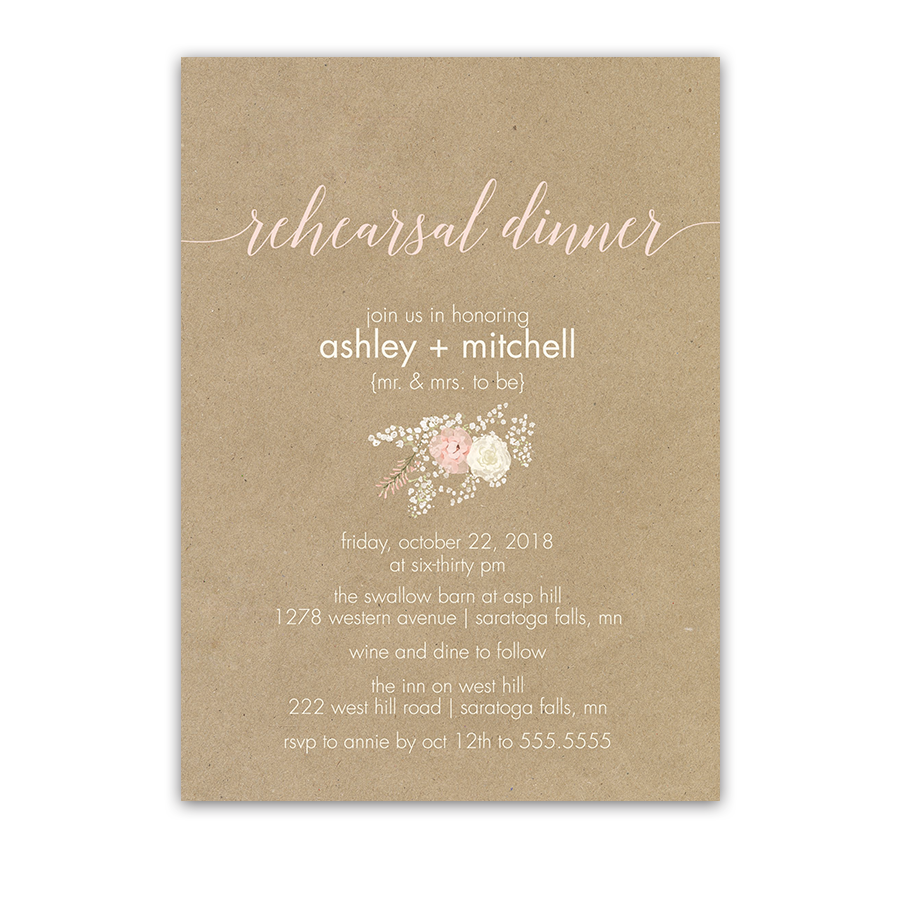 Rustic Kraft Wedding Rehearsal Invite Blush Florals