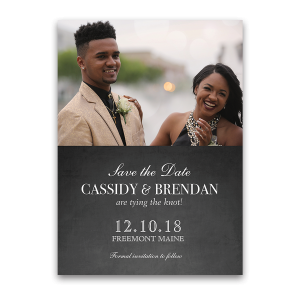 Chalkboard and Lights Wedding Photo Save the Date