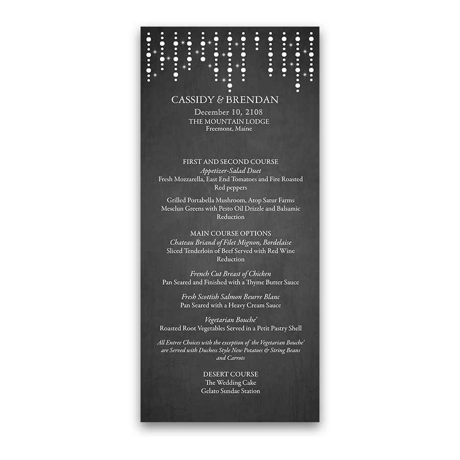 Rustic Chalkboard and String Lights Wedding Menu