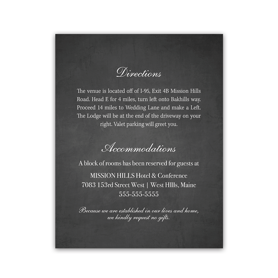 Chalkboard Wedding Guest Information Card Insert
