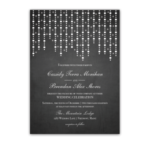 Chalkboard Wedding Invitation Draped String Lights Bokeh