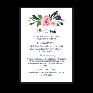 Watercolor Flowers Wedding Information Insert Card