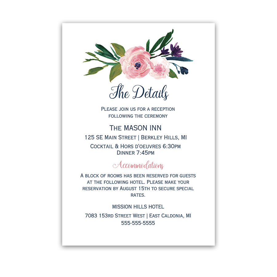 Watercolor Flowers Wedding Information Insert Card