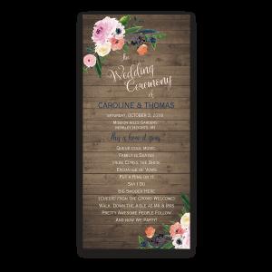 Floral Watercolor Rustic Barn Wood Wedding Program