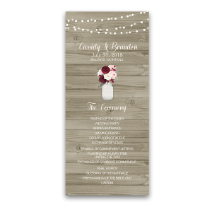Mason Jar Rustic Barn Wood Floral Wedding Program