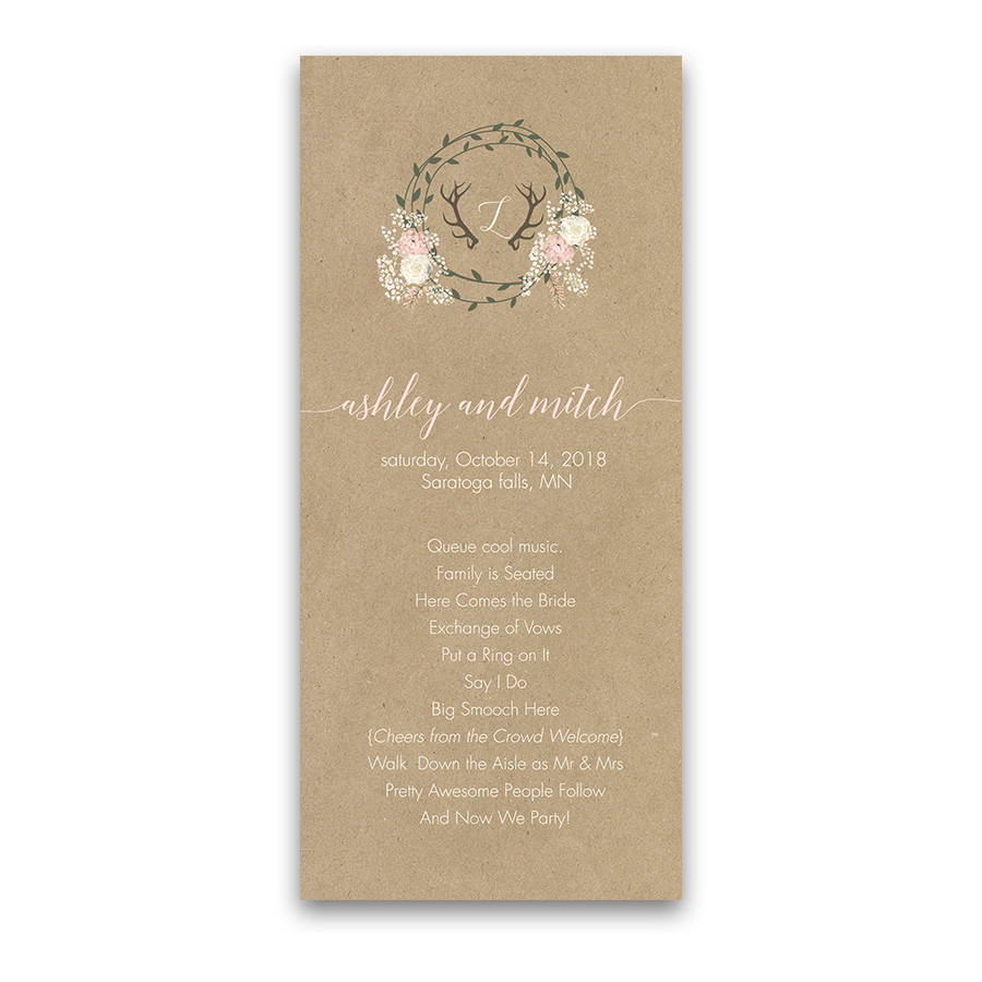 Floral Wreath and Antler Kraft Wedding Ceremony Program