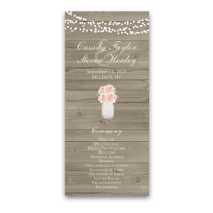 Rustic Mason Jar Peony Wedding Ceremony Program