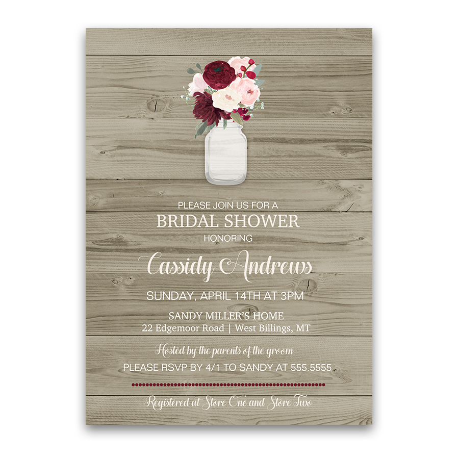 Rustic Mason Jar Burgundy Wine Bridal Shower Invite