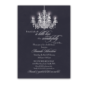 Navy Blue Bridal Shower Invitations Chandelier Design