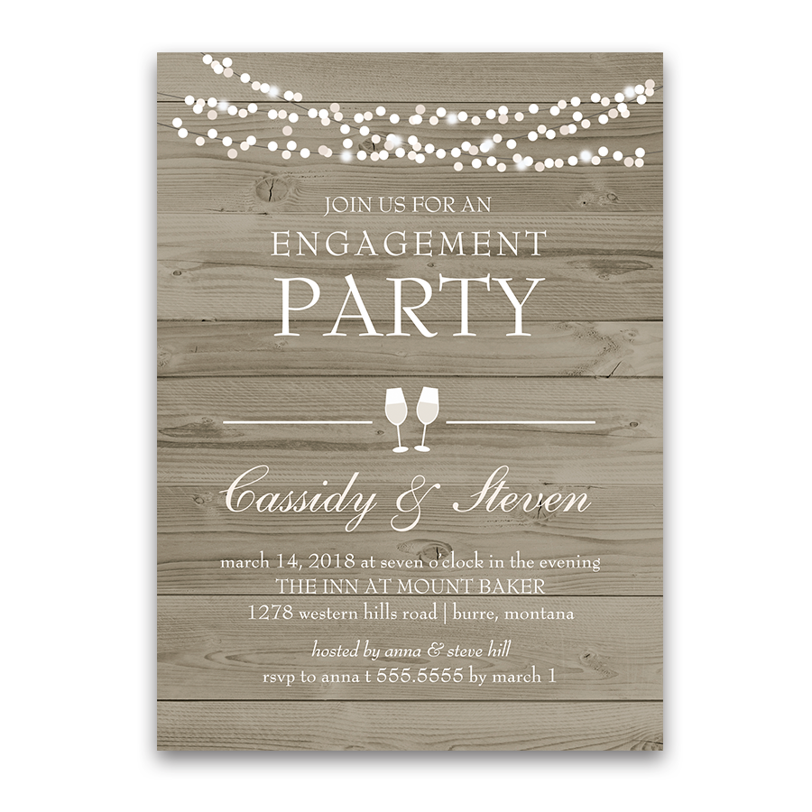 Rustic Country Barn Wood Engagement Party Invitation