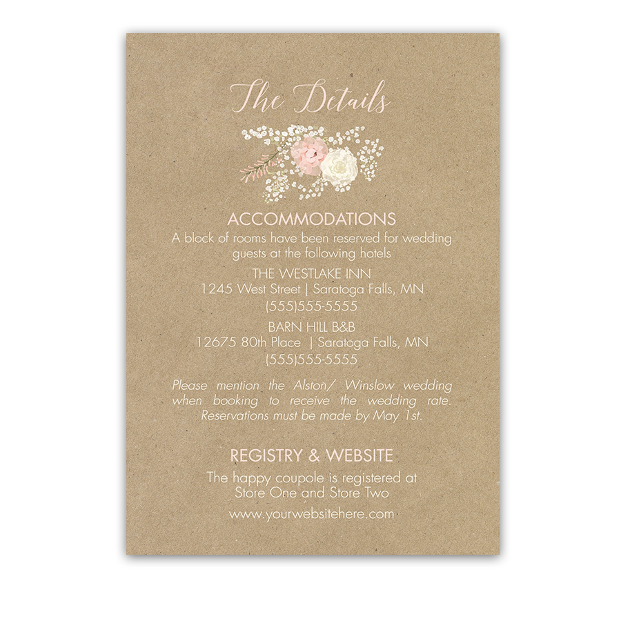 Kraft Wedding Guest Additional Information Insert Card