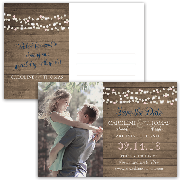 Rustic Barn Wood and Lights Photo Postcard Save the Date