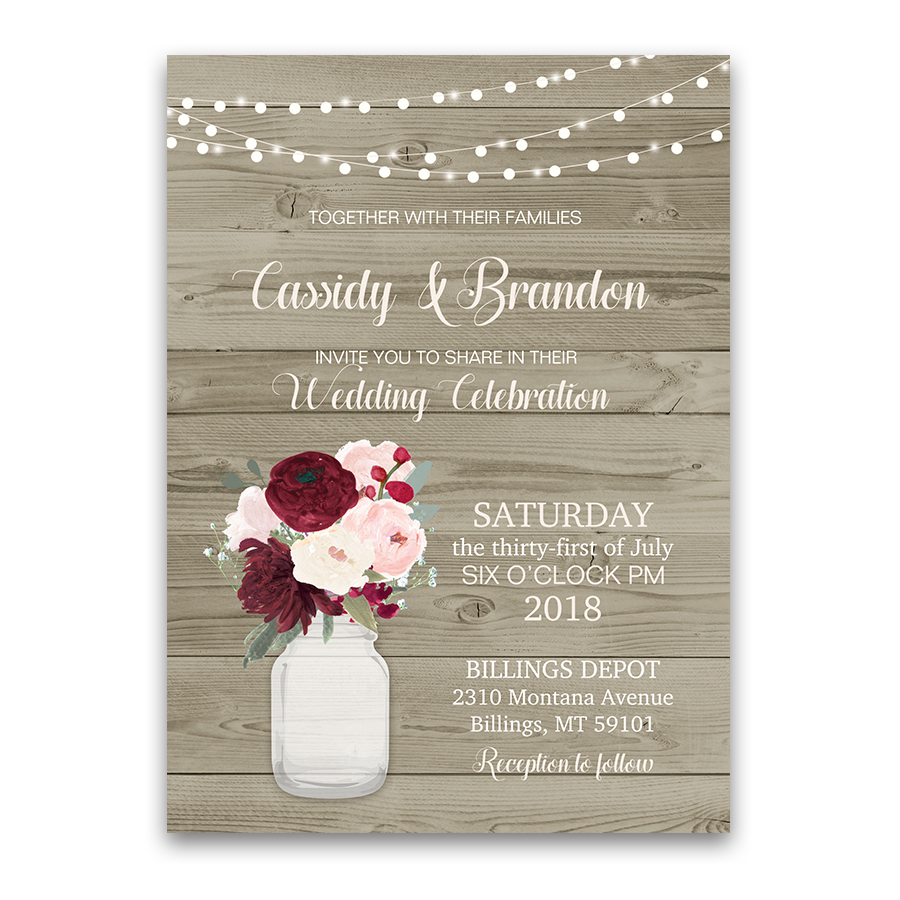 Rustic Mason Jar Floral Wedding Invitations Burgundy
