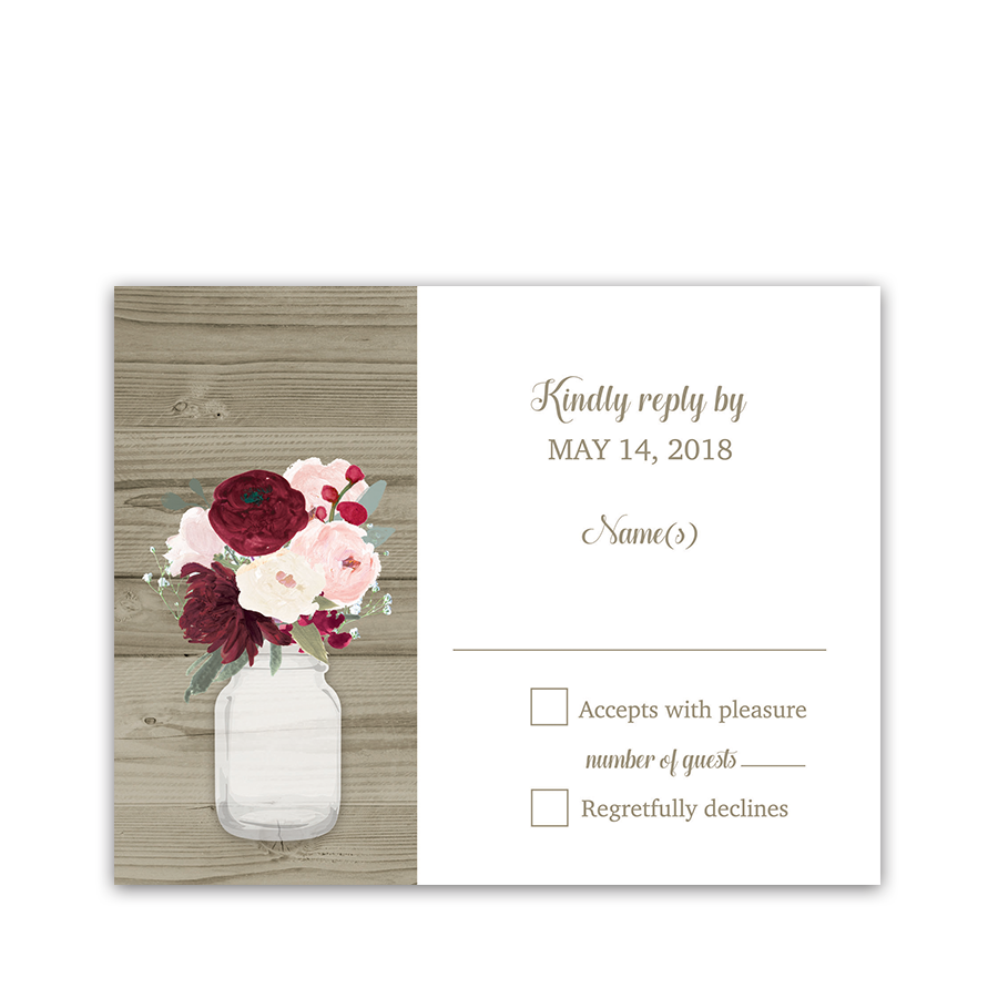 Rustic Mason Jar Burgundy Floral Wedding RSVP Cards